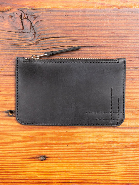 Zip Pouch in Black Cowhide