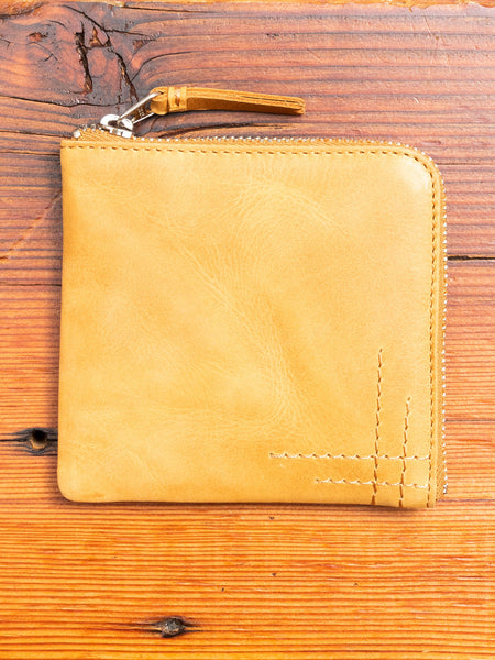 Zip Wallet in Natural Cowhide