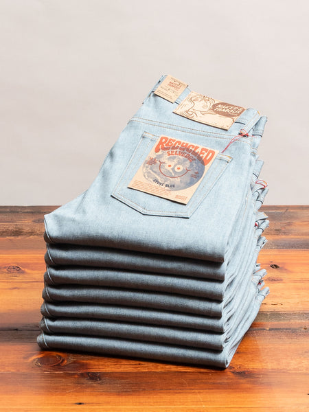 """Recycled Selvedge Stone Blue"" 12.5oz Selvedge Denim - Weird Guy Fit"
