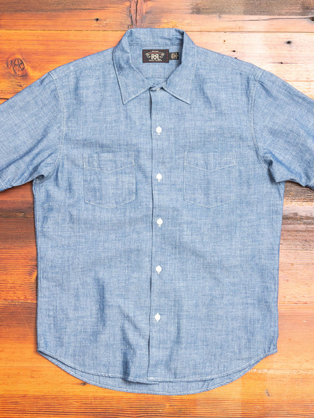 Chambray Short Sleeve Button-Up in Indigo