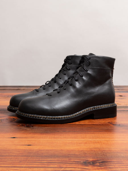 Braided Lace Up Boot in Black