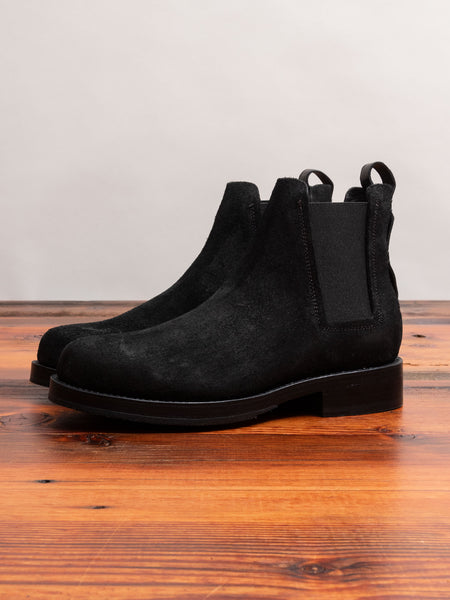 Hand Sewn Chelsea Boot in Black Suede