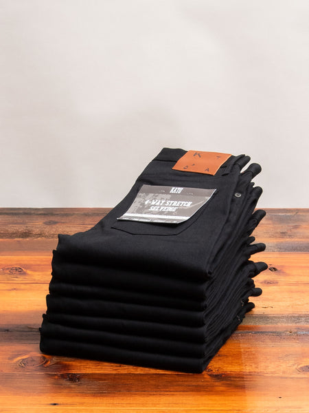 10.5oz Black Stretch Selvedge Denim - Needle Skinny