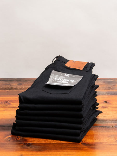 10.5oz Black Stretch Selvedge Denim - Pen Slim