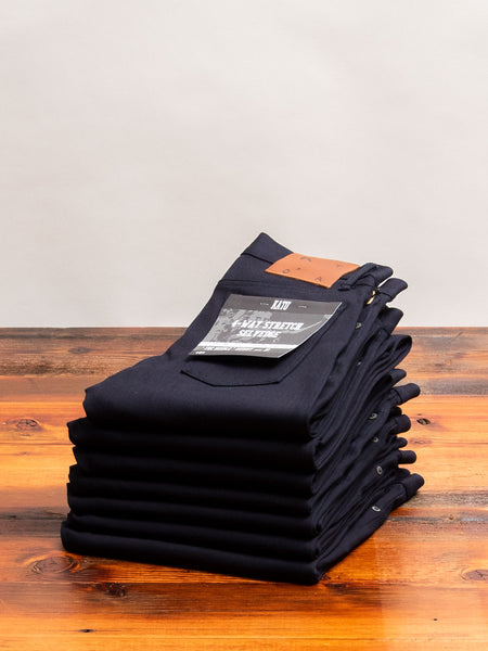 10.5oz Indigo/Black Stretch Selvedge Denim - Needle Skinny