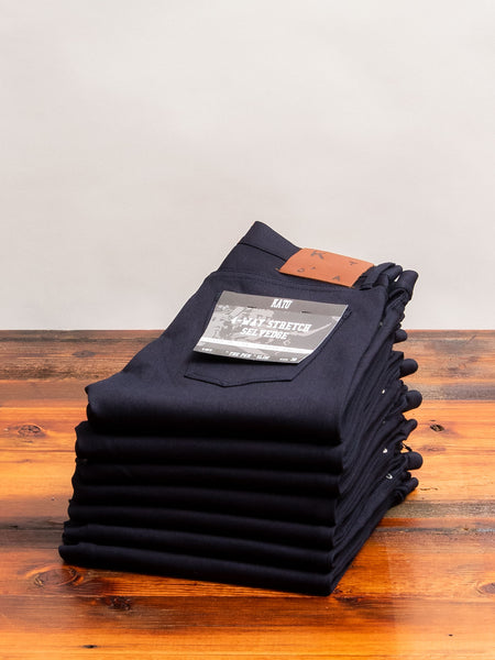 10.5oz Indigo/Black Stretch Selvedge Denim - Pen Slim