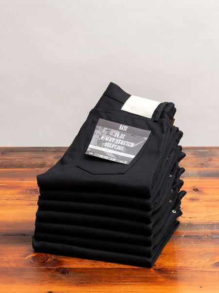 14oz Black Stretch Selvedge Denim - Pen Slim