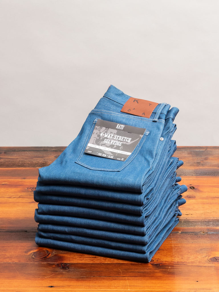 """Cobalt"" 10.5oz Stretch Selvedge Denim - Pen Slim"