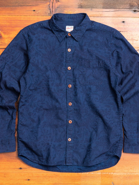05-294 Jacquard Button-Down Shirt in Indigo