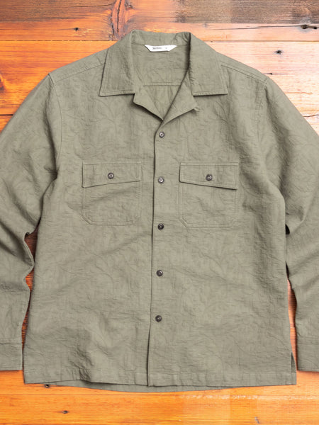 Jacquard Camp Shirt in Olive