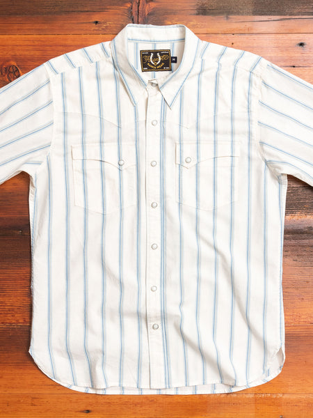 Calico SS Western Shirt in White Stripe