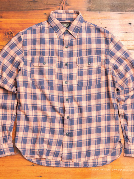 Plaid Twill Work Shirt in Coral Indigo