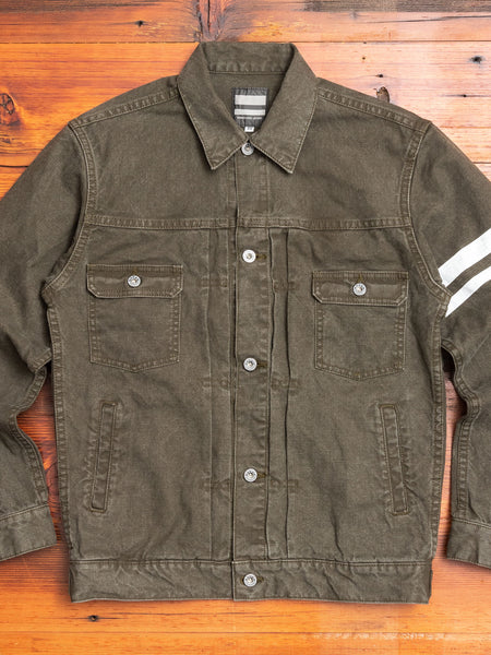 "03-142 ""Going to Battle"" Washed Duck Canvas Jacket in Olive Drab"