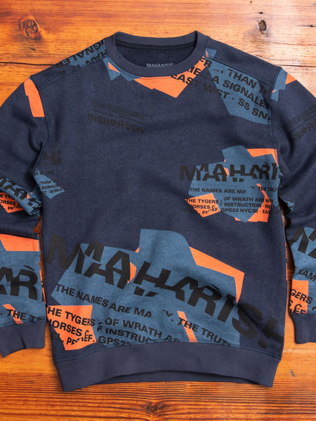MILTYPE Shattered Crewneck Sweater in Navy