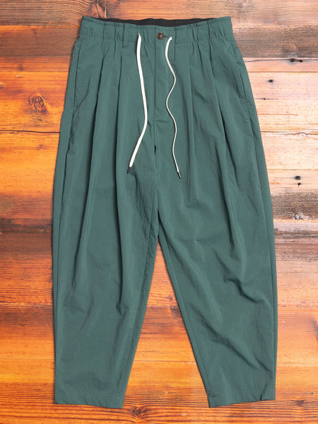 Nylon Sarouel Pants in Dark Green