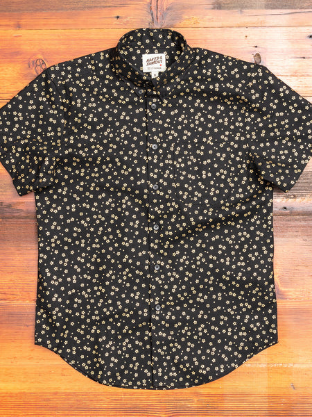 """Japanese Golden Flowers"" Button Down Shirt in Black"