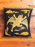 """Tygers of Darkness"" Embroidered Pillow in Black"
