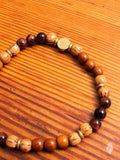 Gemstone Stretch Bracelet in Bayong Wood/Red Tiger Eye