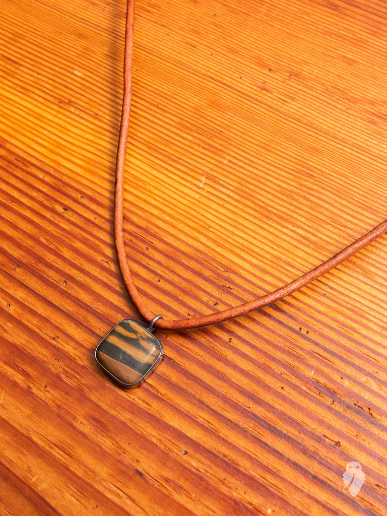 Gemstone & Leather Necklace in Koroit Square