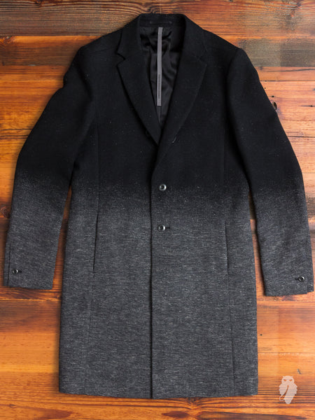 Woven Gradient Chesterfield Coat in Black
