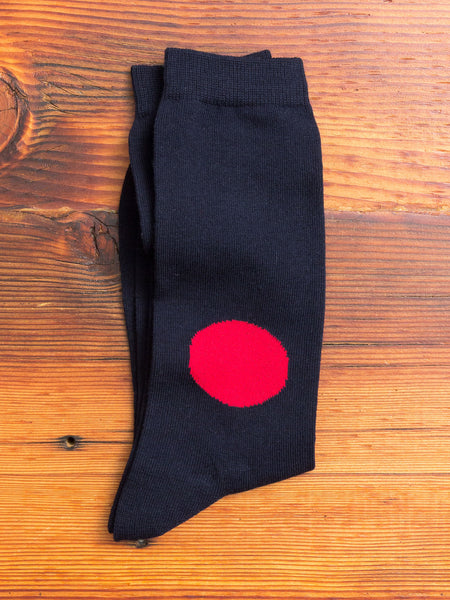 Japanese Flag Socks in Navy