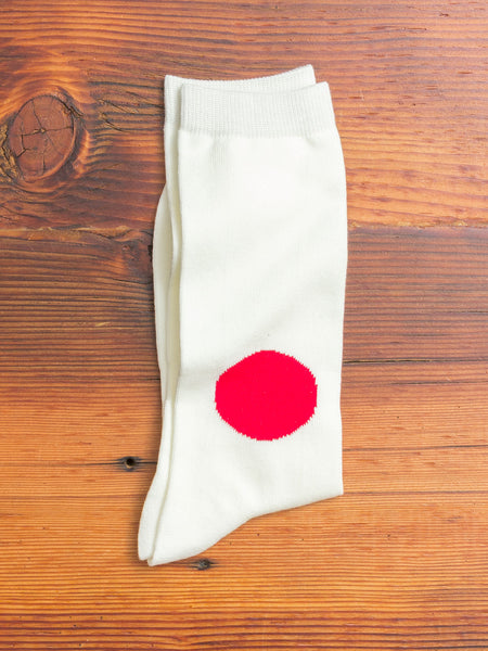 Japanese Flag Socks in Natural
