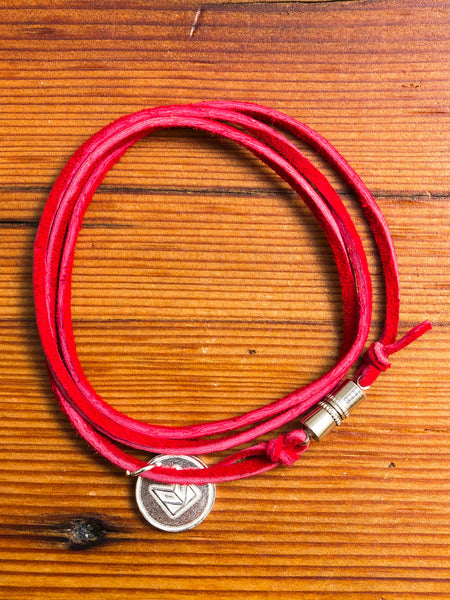 Suede Multi Wrap Bracelet in Red