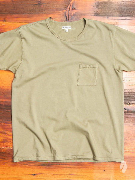 Tube Knit Pocket T-Shirt in Field Olive