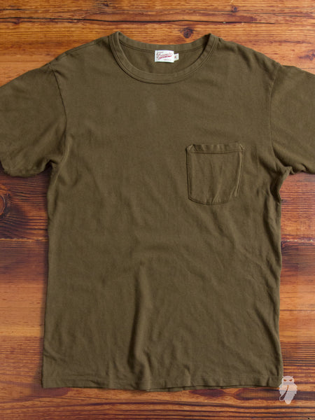 Heavy Gauge Pocket T-Shirt in Dark Olive