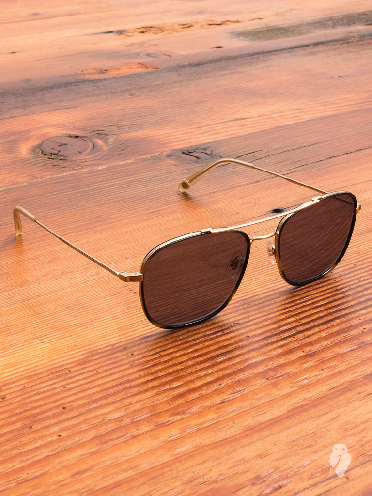 """Marr"" Sunglasses in Gold Tiger Eye"