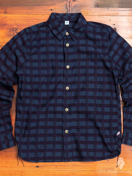 Woven Check Button Up Shirt in Indigo