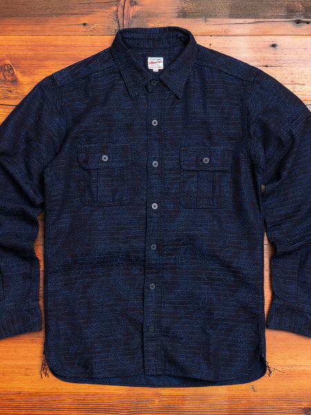 05-233 Shadow Paisley Work Shirt in Indigo