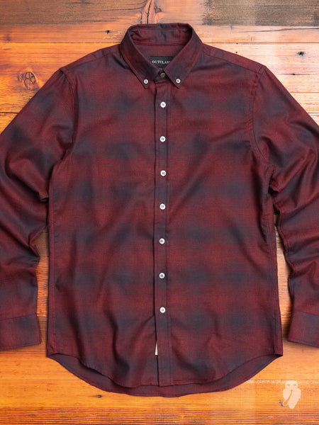 Shadow Plaid Flannel Button-Down Shirt in Red