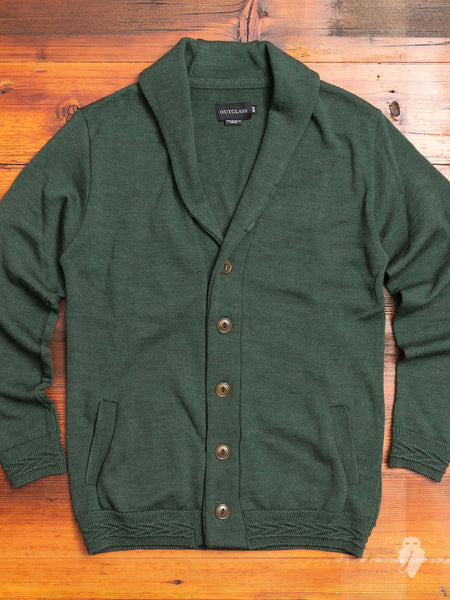 Shawl Collar Cardigan in Forest Green