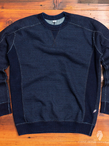 Knit Twill Crewneck Sweater in Indigo