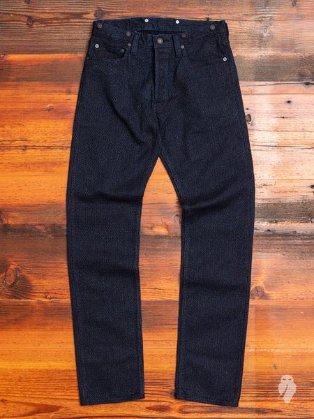 16oz Selvedge Sashiko Cinch Back Pants in Indigo