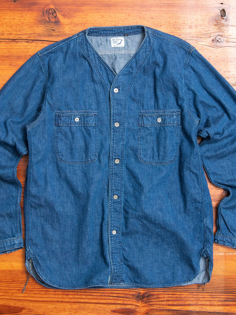 No Collar Denim Shirt in Rinsed Indigo
