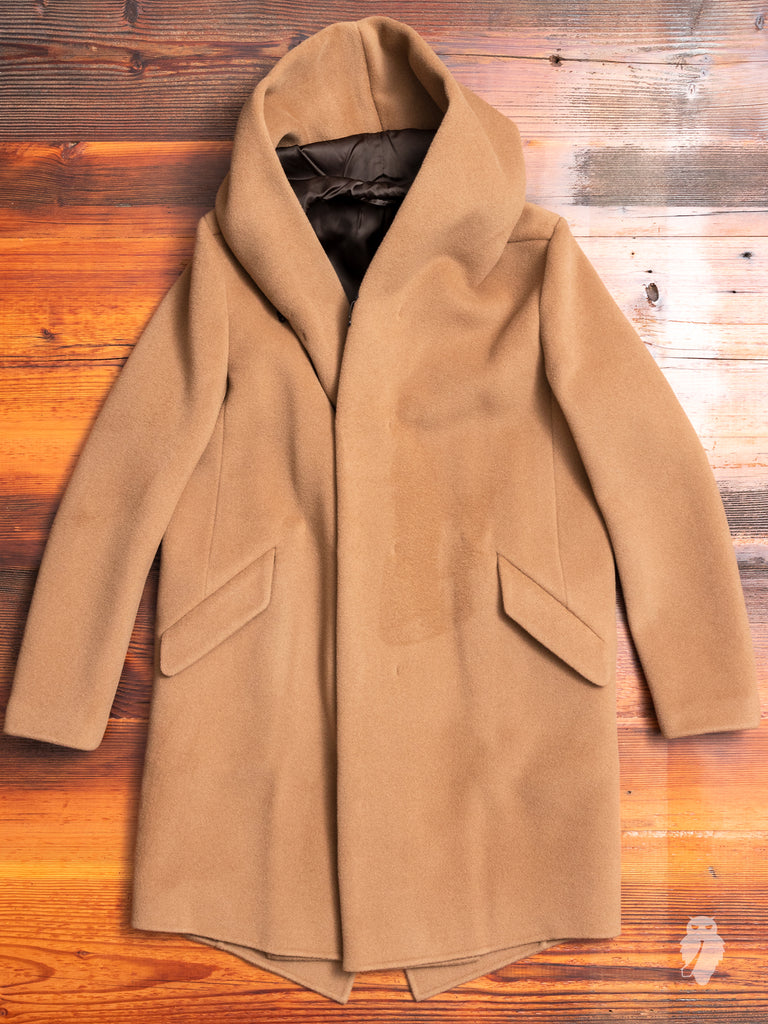 Cashmere Melton Hooded Overcoat in Camel