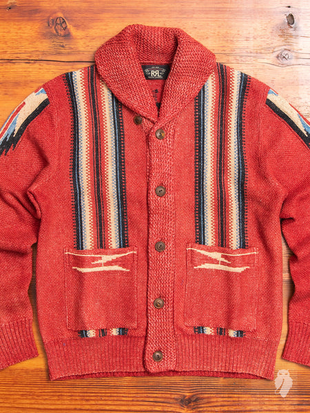 Chimayo Shawl Collar Cardigan in Faded Red