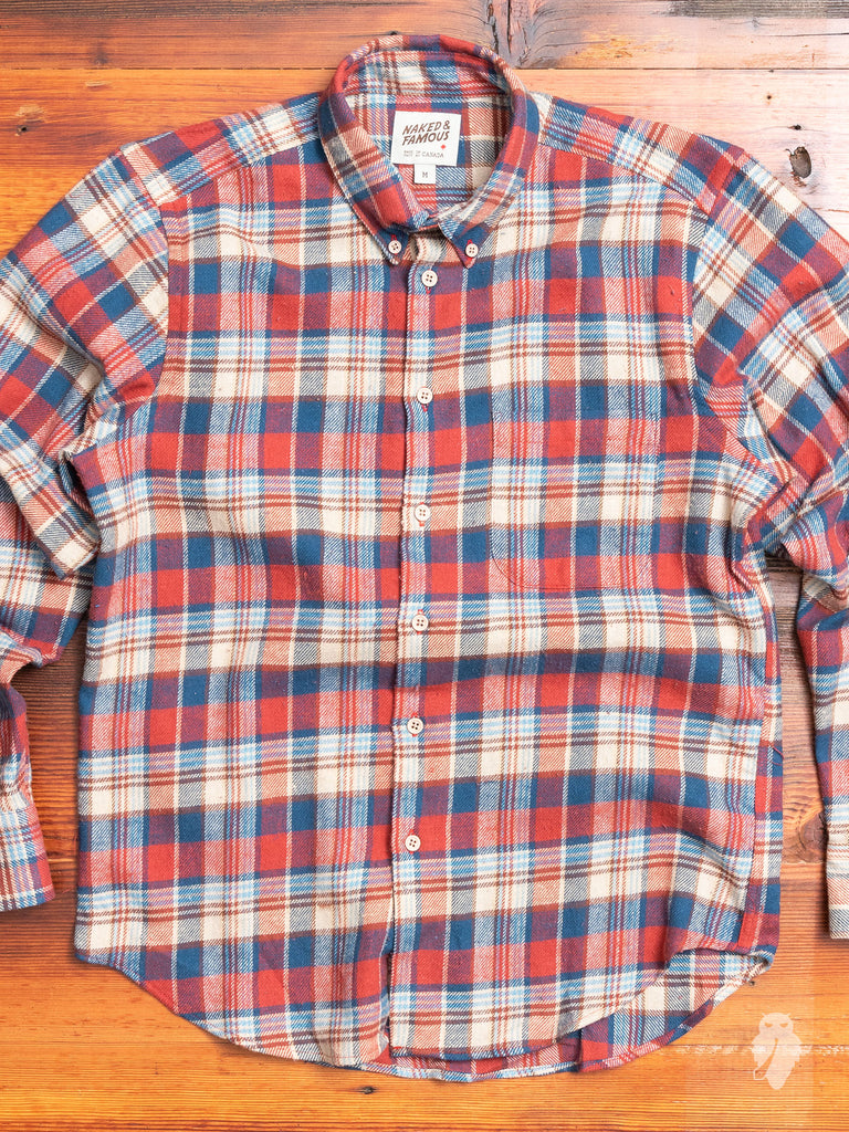 """Rustic Nep Flannel"" Button Down Shirt in Red/Cream"
