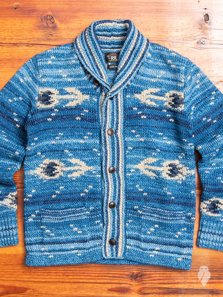 Hand-Knit Shawl Collar Cardigan in Indigo