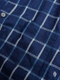Windowpane Flannel Button-Down Shirt in Indigo