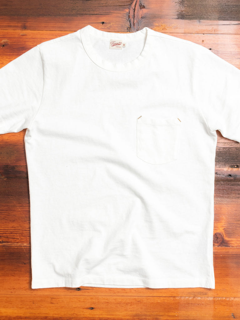 Vintage Wash Pocket T-Shirt in White