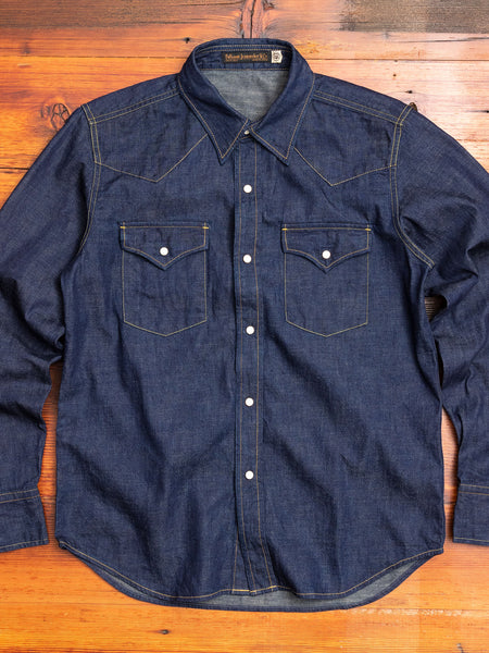 8oz Denim Western Shirt in Indigo