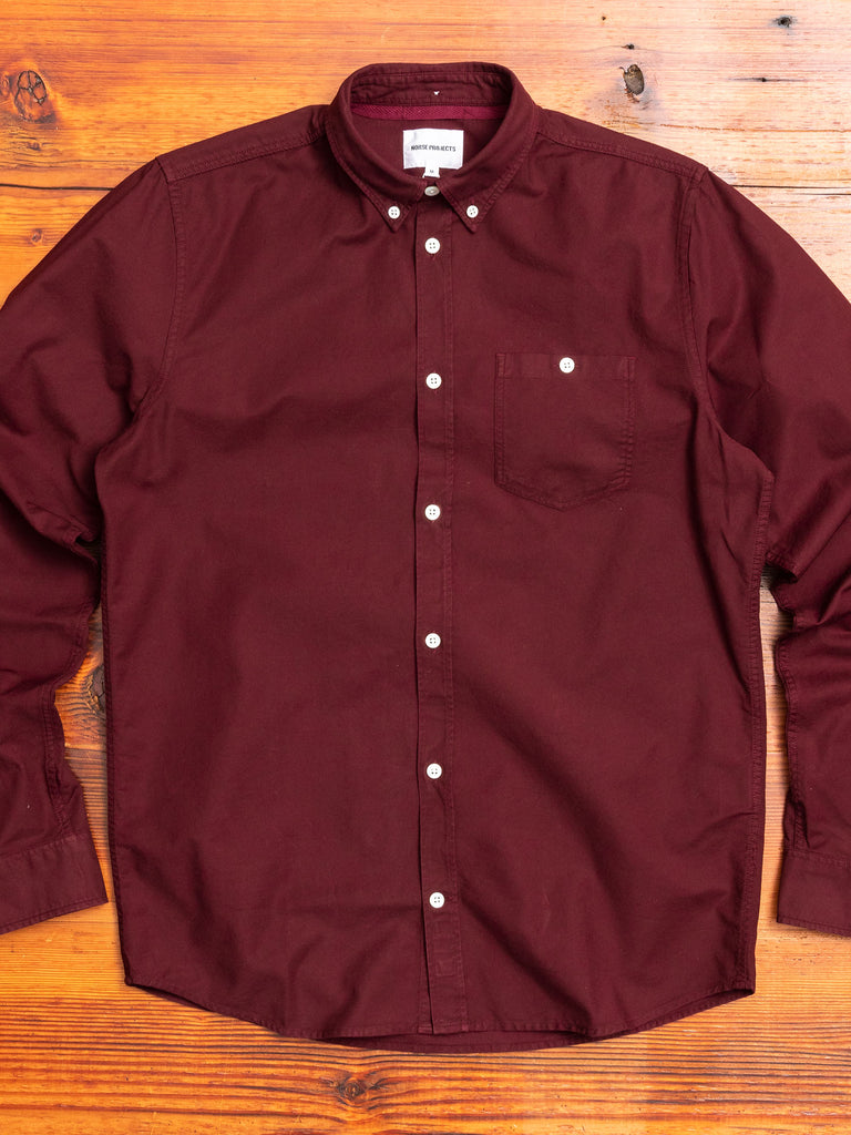 Anton Oxford Button Down Shirt in Mulberry Red