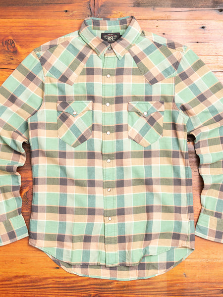 Buffalo Western Shirt in Green/Coral