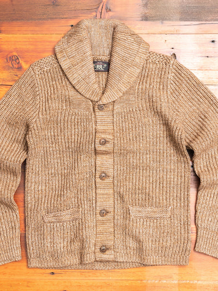Shawl Collar Cardigan in Marled Brown