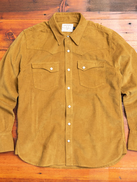 Calico Western Shirt in Bronze Corduroy