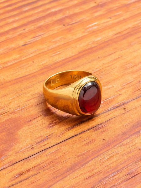 Tommy Signet Ring in Gold/Red Garnet