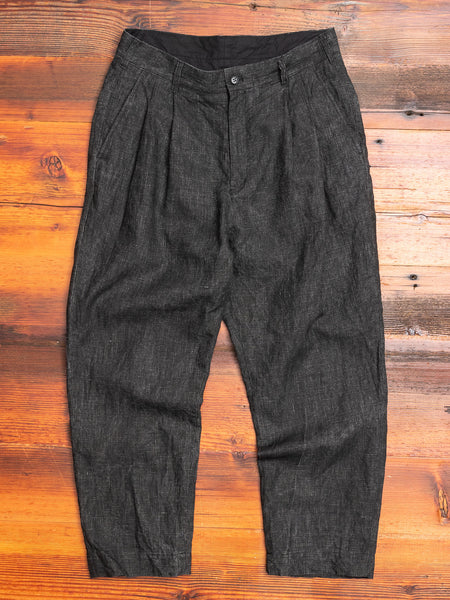 Two Tack Pegtop Pants in Black Linen